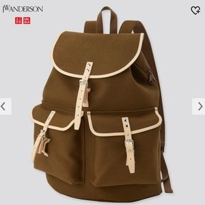 JW Anderson Uniqlo retro brown unisex cotton & genuine leather backpack NWT